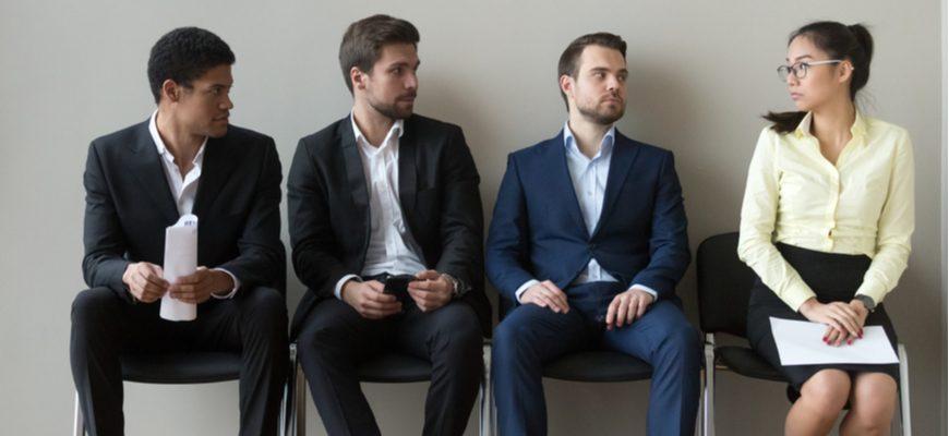 men in suits asian businesswoman discrimination